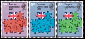 Royal Mail stamps issued in 1973 to commemorate the UK joining the EEC.