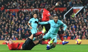 Alexandre Lacazette scores Arsenal's second goal in a draw at Manchester United that left José Mourinho's team 18 points off the top of the Premier League.
