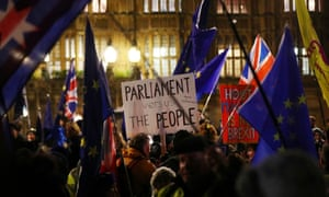 Pro-Brexit campaigners outside the Houses of Parliament.