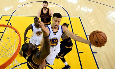 Steph Curry tries to in last year's NBA finals – and in the background, the gleaming hard maple surface at Oracle Arena.