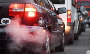 Car exhausts belch smoke