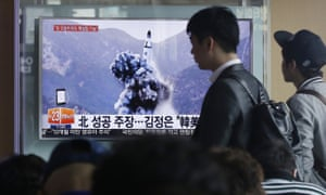 A picture claimed by North Korea to show a missile test is shown on South Korean television in April 2016.