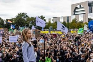 Greta Thunberg speaks in front of the Reichstag in Berlin