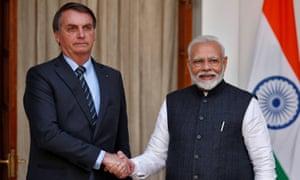 El primer ministro de India, Narendra Modi, y el presidente de Brasil, Jair Bolsonaro, en India a principios de este año.