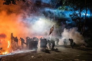 Protesters clash with riot police at the Chinese University of Hong Kong in Sha Tin, in November