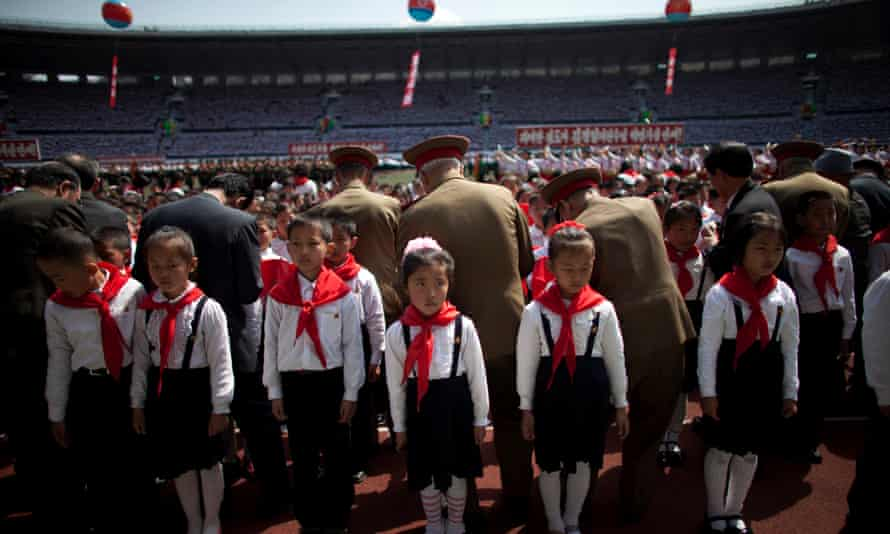 In Pyongyang, children are inducted into their first political organisation the Korean Children's Union.