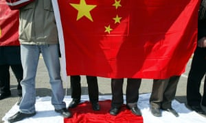 Chinese protesters outside the Japanese embassy, in Beijing in 2004.
