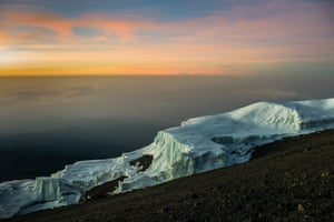 Sunrise view of Kilimanjaro's glaciers from stella point