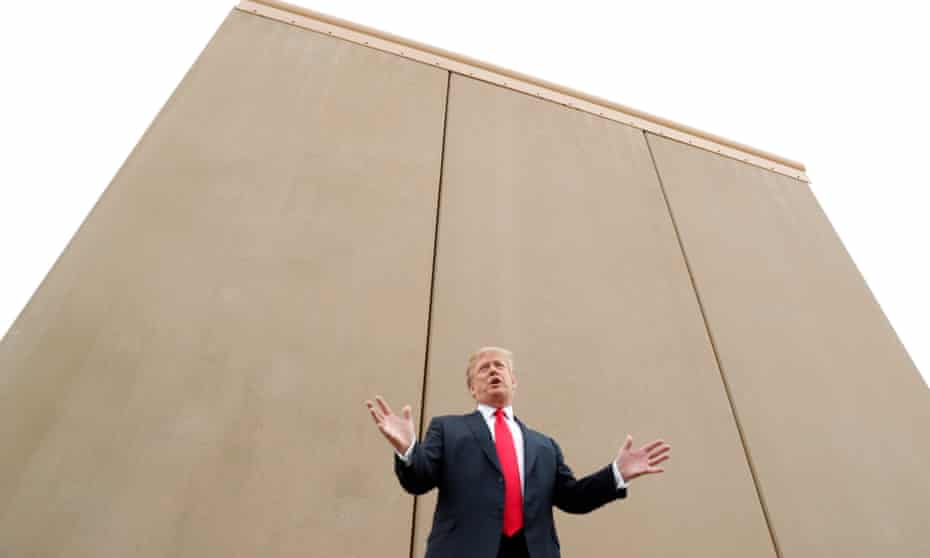 Trump speaks before border wall prototypes near the Otay Mesa port of entry in San Diego.