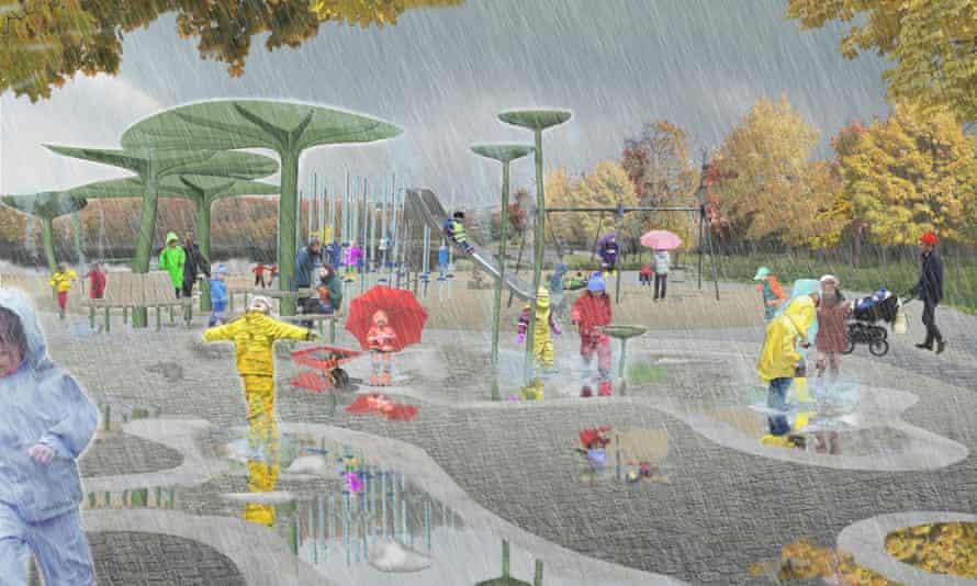 Artist's impression of the Regnlekplatsen, or rain playground