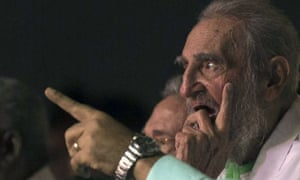 Cuba's former president Fidel Castro at a celebration for his 90th birthday at the Karl Marx theatre in Havana on Saturday.