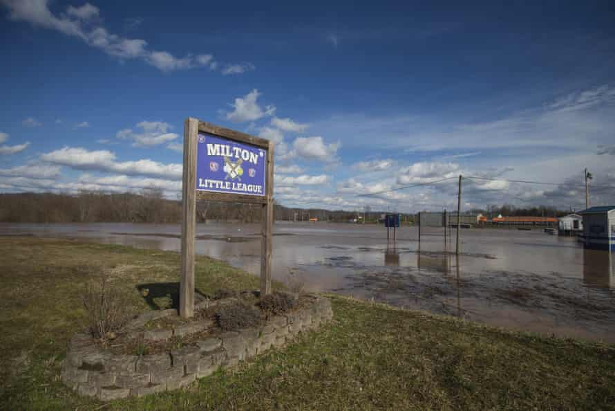 A flooded baseball field in Milton, West Virginia, in March. Flooding is increasingly common in the state.