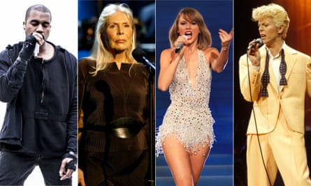 Mixing it up ... Kanye West, Joni Mitchell, Taylor Swift and David Bowie.