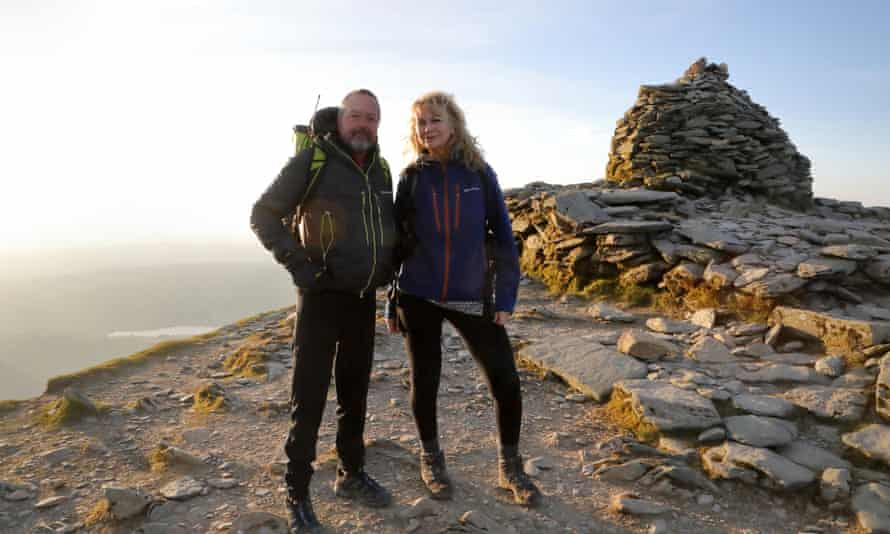 walkers Sion Jair  and Wendy Kolbe  on the summit of the Old Man of Coniston