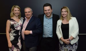 Successful candidates for the Nick Xenophon team. L-R: Skye Kakoschke-Moore, Stirling Griff, Nick Xenophon and Rebekha Sharkie (Mayo) at the post-election party at the Palace Nova Cinema in Adelaide.