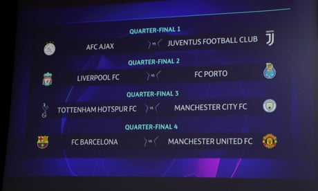 Champions League: Spurs v Man City and Barça v Man Utd in last eight – as it happened