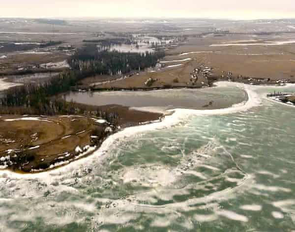 Aerial footage shows severe flooding on the Pine Ridge Reservation in South Dakota.