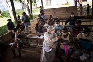 Manaus, Brazil: health personnel perform coronavirus tests in the Bela Vista do Jaraqui community, in the rural area of Amazonas, one of the hardest hit by the pandemic
