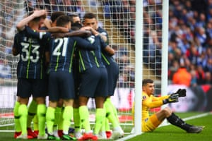 Manchester City celebrate after Gabriel Jesus scores the only goal of the game and secure their place in the final.