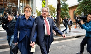 Geoffrey Rush leaves the supreme court alongside his wife Jane Menelaus