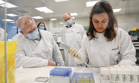 Australian prime minister Scott Morrison takes a tour at the AstraZeneca laboratories in Macquarie Park, Sydney. The Australian government has announced an agreement with the pharmaceutical giant to secure at least 25m doses of a Covid-19 vaccine if it passes clinical trial. The University of Oxford vaccine is currently in phase-three testing.