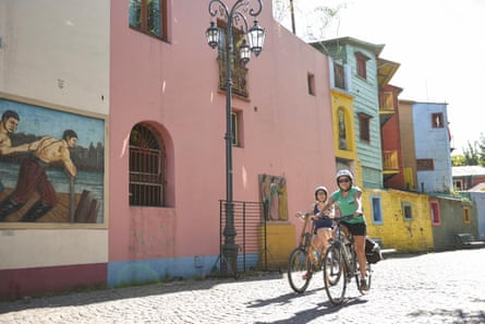 Bicycling on bamboo bikes in Buenos Aires, Argentina