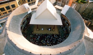 Shakespeare's Globe theatre, London, in an aerial shot taken during a daytime performance