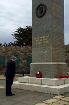 Fallon pays his respects at the at the Liberation monument in Stanley, Falkland Islands.