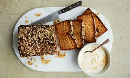 Anna Jones's honey, almond and cardamon drizzle cake.