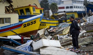 The fish market in Coquimbo received the full force of the tsunami, with boats being swept miles from the shore.