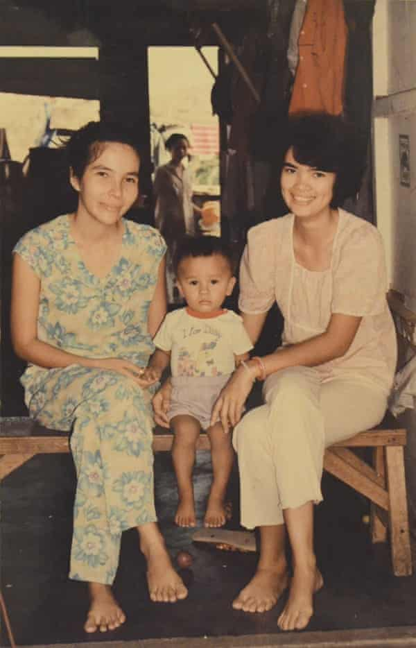Ocean Vuong aged two with his mother and aunt at a Philippines refugee camp.