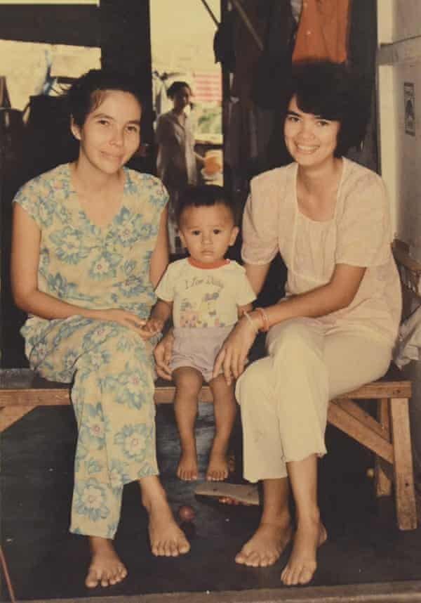 Ocean Vuong aged two with his aunt and mother at a Philippines refugee camp