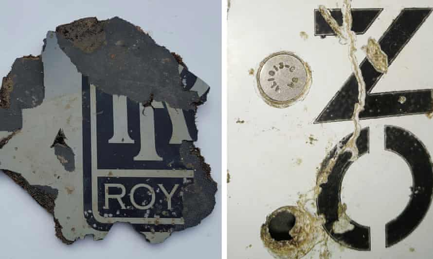 Two of five pieces of debris Australian officials believe is almost certainly from missing Malaysia Airlines flight MH370.
