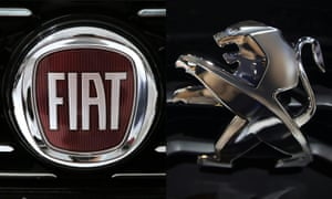The logo of Fiat and the Peugeot logo