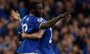 Romelu Lukaku celebrates scoring Everton's third goal against West Brom.