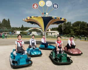 Children playing with manual bumpers cars at Mangyondae amusement park (June 2017)