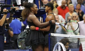 Serena Williams congratulates Naomi Osaka after the Japanese player's first grand slam title
