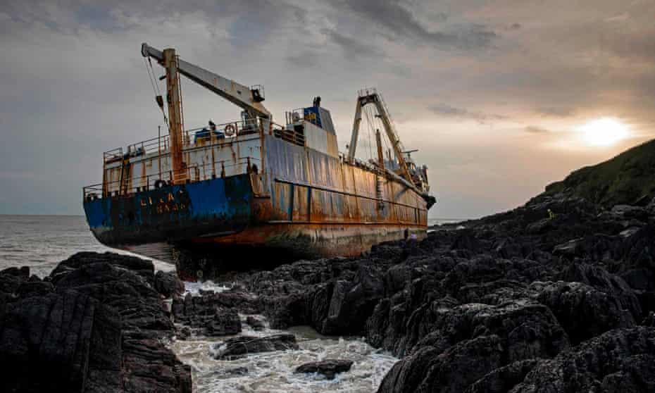 The abandoned 77-metre cargo ship MV Alta stuck on rocks near the village of Ballycotton