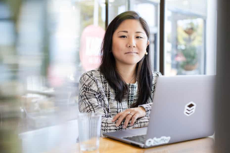 Mia Hamano, product manager at Buffer, at a coffee shop in Sausalito, California.