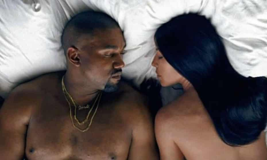 With his wife Kim Kardashian in the video for Famous.