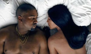 Kanye West and Kim Kardashian in the video for Famous.