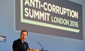 British Prime Minister David Cameron speaks during the Anti-Corruption Summit in London convened after the Panama Papers leak.