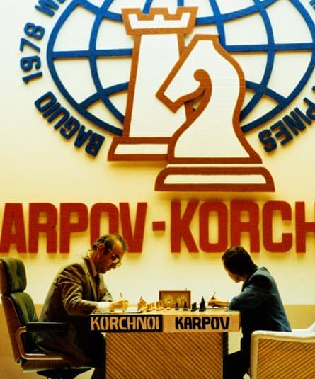 Viktor Korchnoi and Anatoly Karpov compete for the 1978 World Chess Championship.