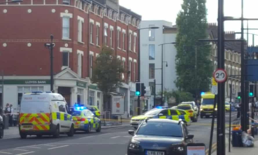 Police at the scene on Sydenham Road on Sunday.