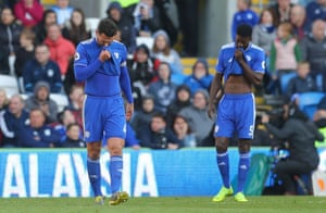 Sean Morrison and Bruno Ecuele Manga of Cardiff City show a look of dejection.