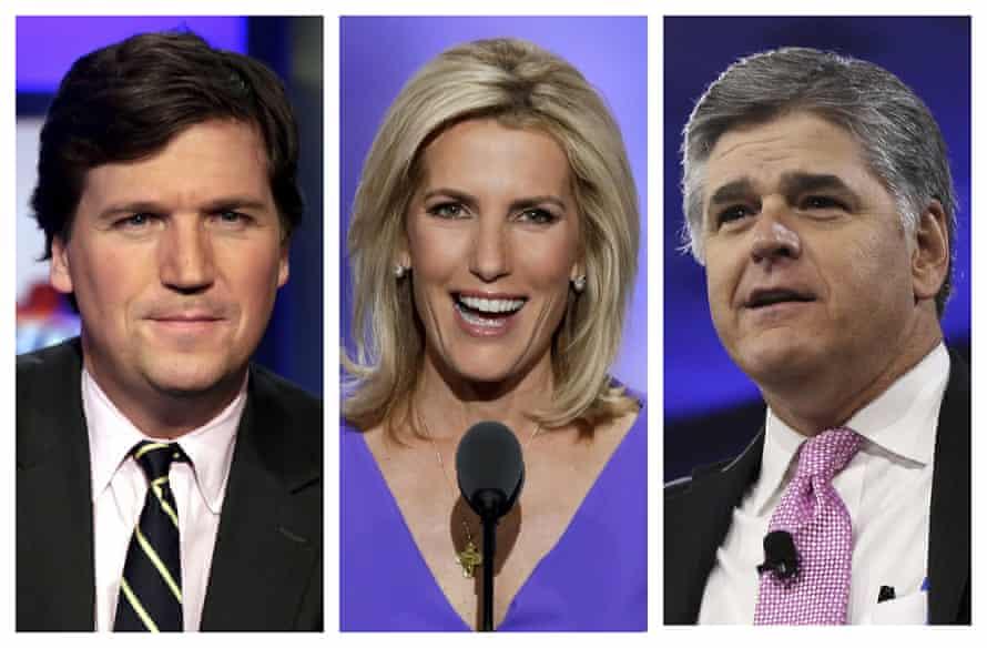 Fox News hosts, from left, Tucker Carlson, Laura Ingraham, and Sean Hannity.