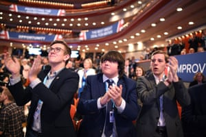 Birmingham, UK: Young delegates applaud during day two of the Conservative party conference