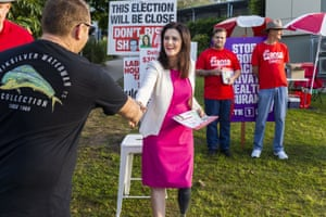 Labor candidate for the seat of Dickson Ali France greets voters at Patricks Road state school in Brisbane.