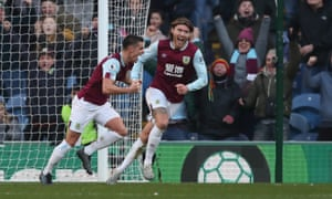 Ashley Westwood of Burnley wheels away in celebration after putting his side 2-1 up against Leicester.