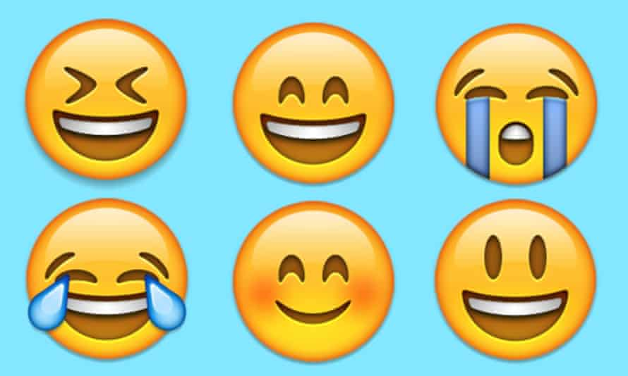 The 'tears of joy' emoji (bottom left) was the 2015 word of the year for Oxford Dictionaries.